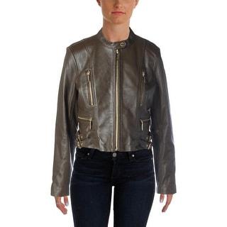 MICHAEL Michael Kors Womens Lambskin Leather Non-Vented Bomber Jacket - 12