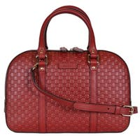 "Gucci Women's 510286 Micro GG RED Leather Convertible Medium Satchel Purse - 11"" x 7.5"" x 4.5"""