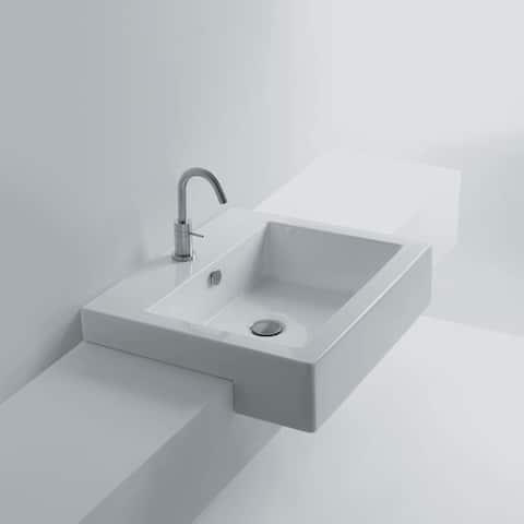 """WS Bath Collections Quad 60S - WS04401F Quad 24"""" Semi-Recessed - Ceramic White"""