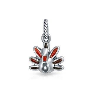 Bling Jewelry Multicolor Enamel Turkey Dangle Bead Charm .925 Sterling Silver