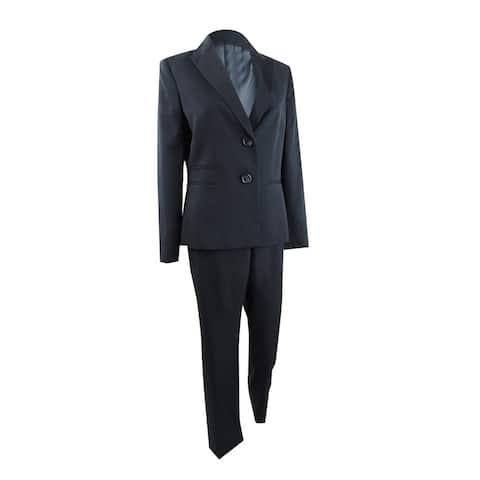 Le Suit Women's Peak-Collar Two-Button Pantsuit (8, Navy) - 8