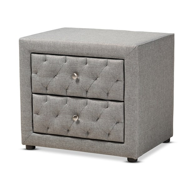 """Baxton Studio Lepine Nightstand Lepine 22"""" Wide 2 Drawer Wood Framed Nightstand with Polyester Upholstery"""