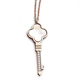 Chisel Stainless Steel Polished Rose IP-Plated CZ & Mother of Pearl Key with 2 inch Extension (1 mm) - 16 in