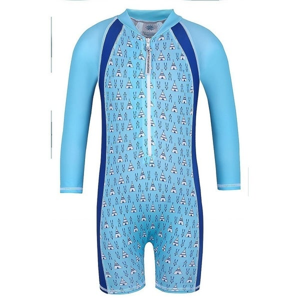 Sun Emporium Baby Boys Blue Tee Pee Print UPF50+ Protective Sun Suit