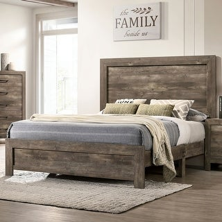 Link to Furniture of America Justinna Rustic Natural Tone Panel Bed Similar Items in Bedroom Furniture