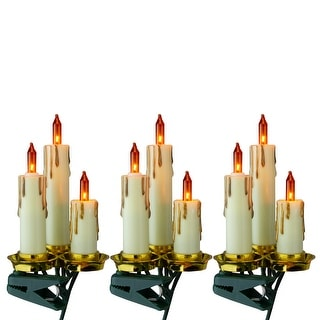 Set of 15 Amber and Gold Dripping Candle Clip-On Christmas Lights - 3.75' Green Wire