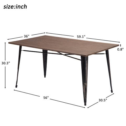 Nestfair Antique Style Rectangular Dining Table with Metal Legs