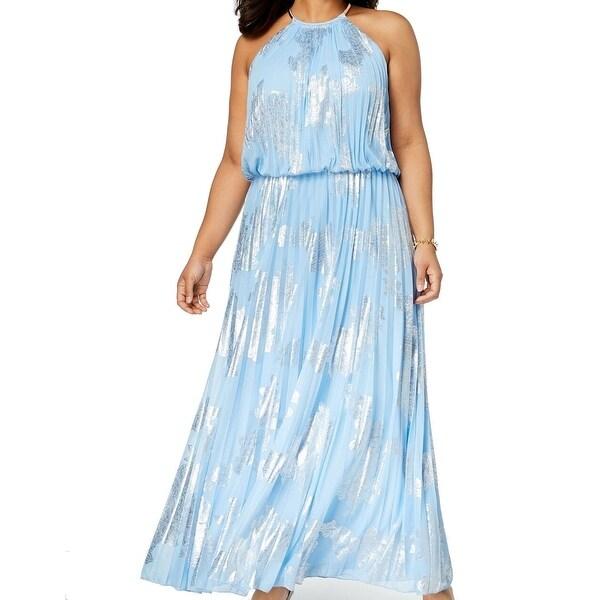 Msk Light Blue Silver Womens Size 12 Pleated Blouson Maxi Dress