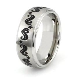 Stainless Steel Ring w/ Stars & Swirls Design