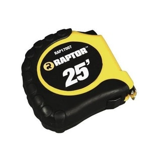 Raptor Tools RAP17007 25' Tape Measure with Rubber Casing and Belt Clip