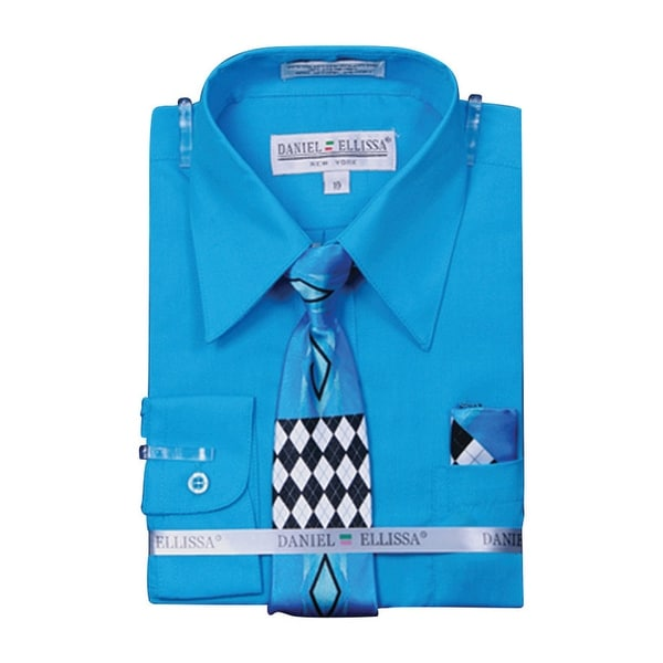 Boy/'s Basic Dress Shirt with Tie and Hanky Set
