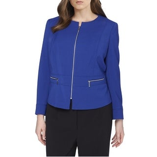Tahari ASL Plus Size Ponte Knit Zipper Blazer Jacket