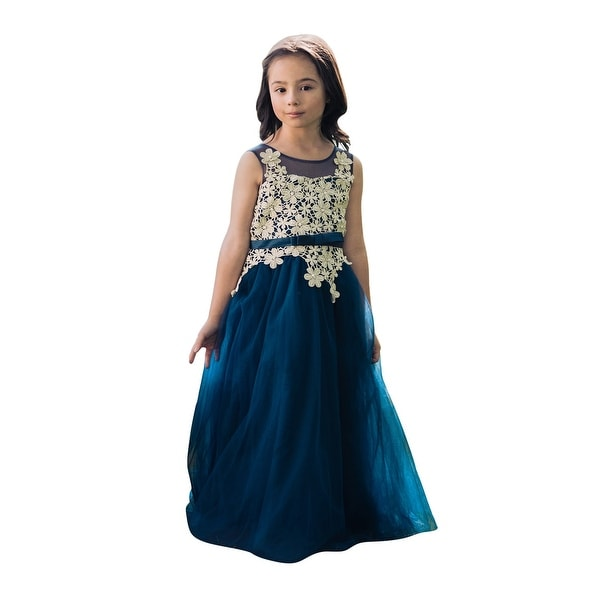 bfb4c2532698 Shop Little Girls Navy Blue Gold Floral Lace Floor Length Fiona ...