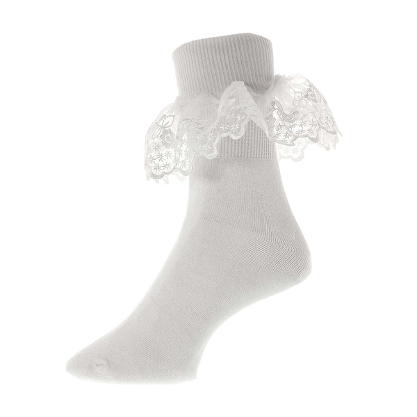 Divine White Lace Cotton Bobby Socks for Girls