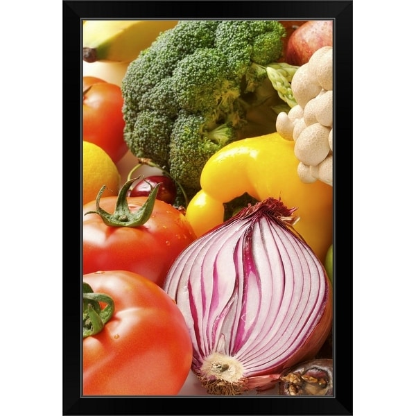 """Close-up of different kinds of vegetables with vibrant colors"" Black Framed Print"