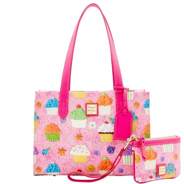Dooney & Bourke Cupcakes Sm Shopper & Med Wristlet (Introduced by Dooney & Bourke at $228 in Feb 2017) - Pink