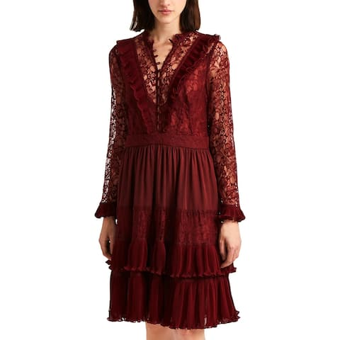 French Connection Womens Ross Midi Dress Lace Ruffled - Red