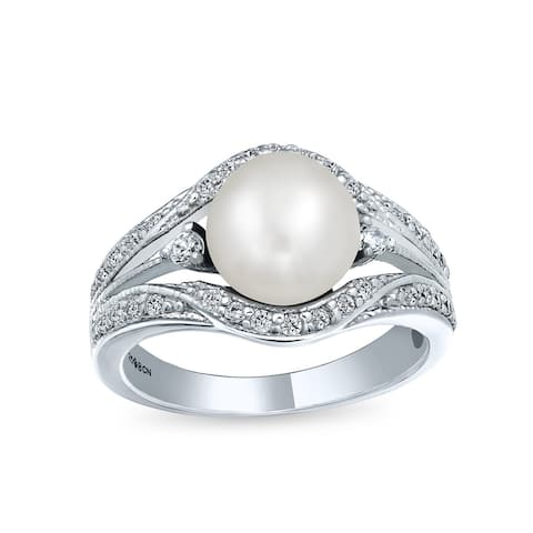Freshwater White Cultured Pearl Engagement Ring 925 Sterling Silver