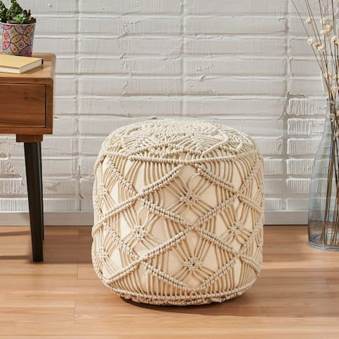 Barrows Macrame Cube Pouf by Christopher Knight Home