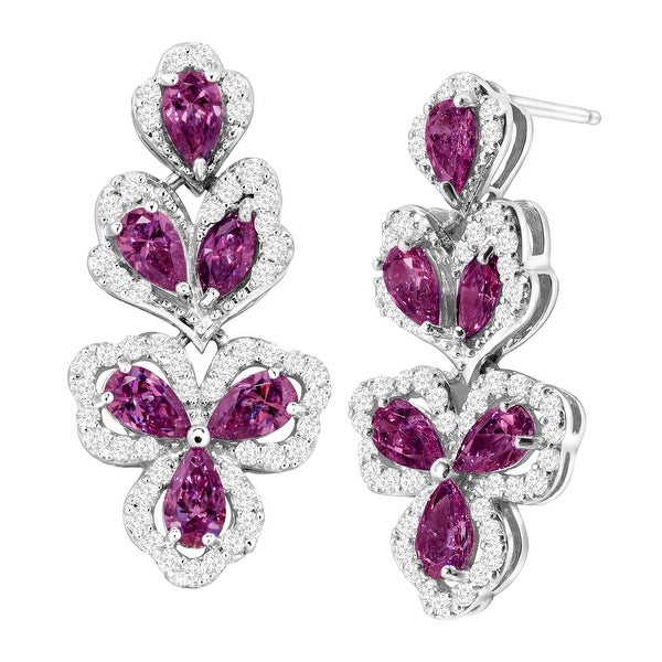 Vine Drop Earrings with Swarovski Zirconia in Sterling Silver - Purple