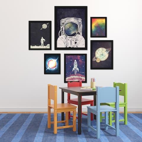 Outer Space Astronaut Framed Art Set