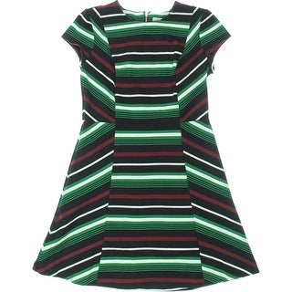 MICHAEL Michael Kors Womens Striped Cap Sleeves Wear to Work Dress