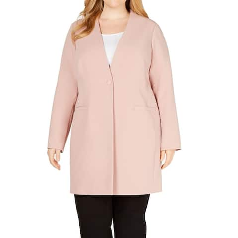 Alfani Women Jacket Clay Pink Size 28W Plus Single Button Dual Pockets
