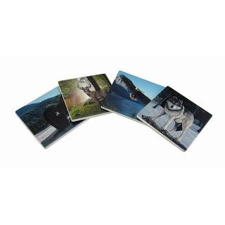 Set of 4 Forest Wildlife Ceramic Tile Coasters