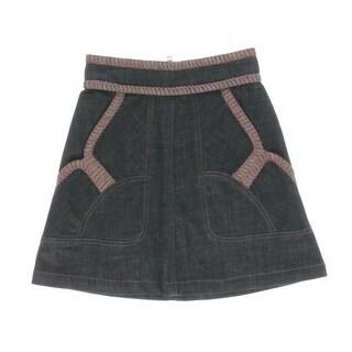 See by Chloe Womens Denim Skirt Marled Knit Contrast Trim