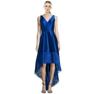 ML Monique Lhuillier Lace Trim Hi-Lo Cocktail Evening Dress - 4