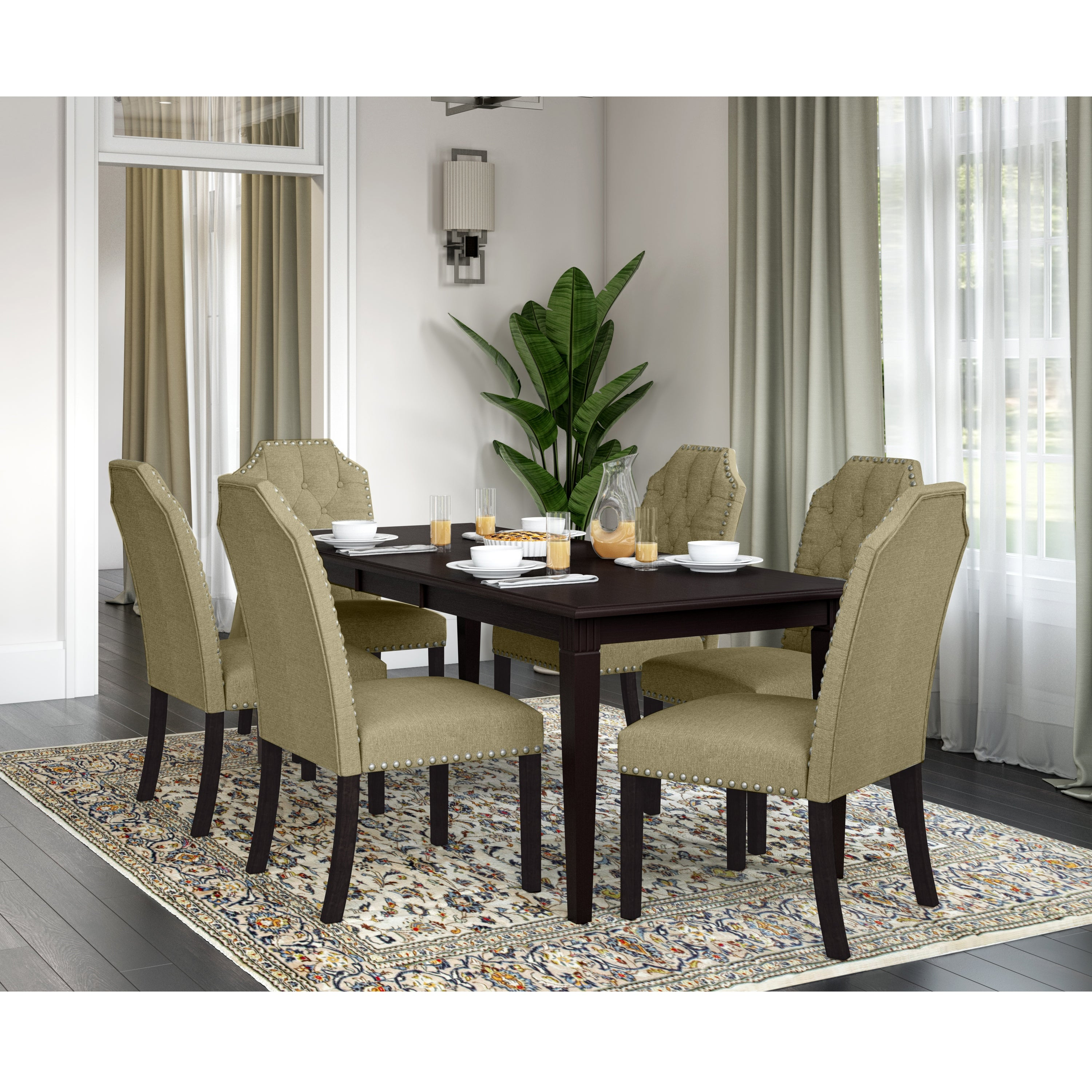 Picture of: Copper Grove Teresa 7 Piece Wood Dining Table And Upholstered Dining Chairs Overstock 31934519 Barley Tan Linen