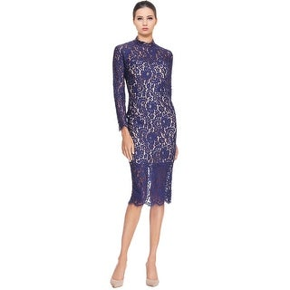 Keepsake Momento Long Sleeve Lace Mockneck Cocktail Dress - s
