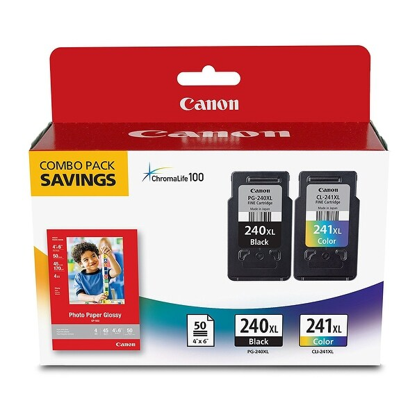 "Canon Fine Cartridge PG-240XL/CL-241XL with Photo Paper Glossy (50 Sheets, 4""x6"") - black/tri color/paper"