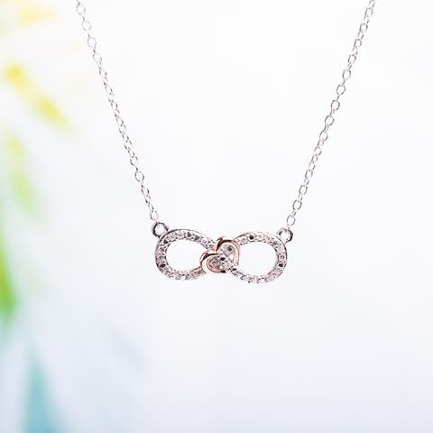 Miadora Sterling Silver 1/10 ct. TDW Diamond Heart Infinity Necklace