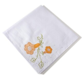 Beautiful Large Floral Embroidered Handkerchief