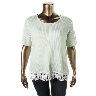 Modamix Womens Plus Lace Trim Short Sleeve Pullover Sweater - 3X
