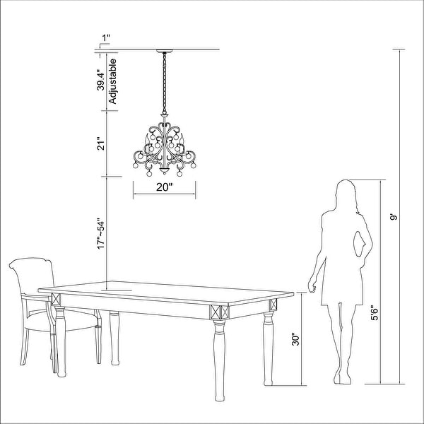 Iron and Crystal 5-light Chandelier