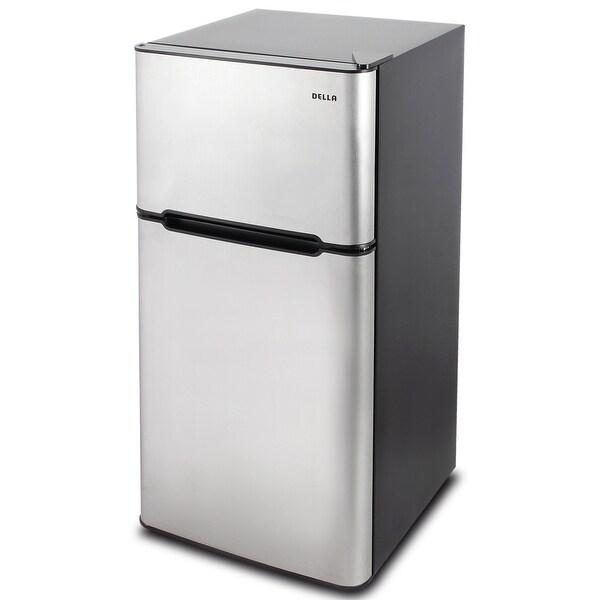 Della Double Door Refrigerator and Freezer Food Soda Beer, Adjustable Shelf Stainless Steel, 4.5 Cubic Feet