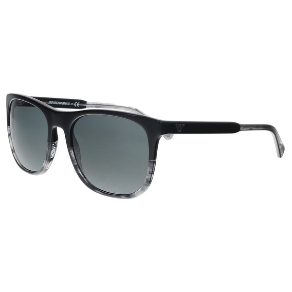 3ea6b570c8c Emporio Armani EA4099 556687 Black  Striped Grey Rectangle Sunglasses -  56-19-145