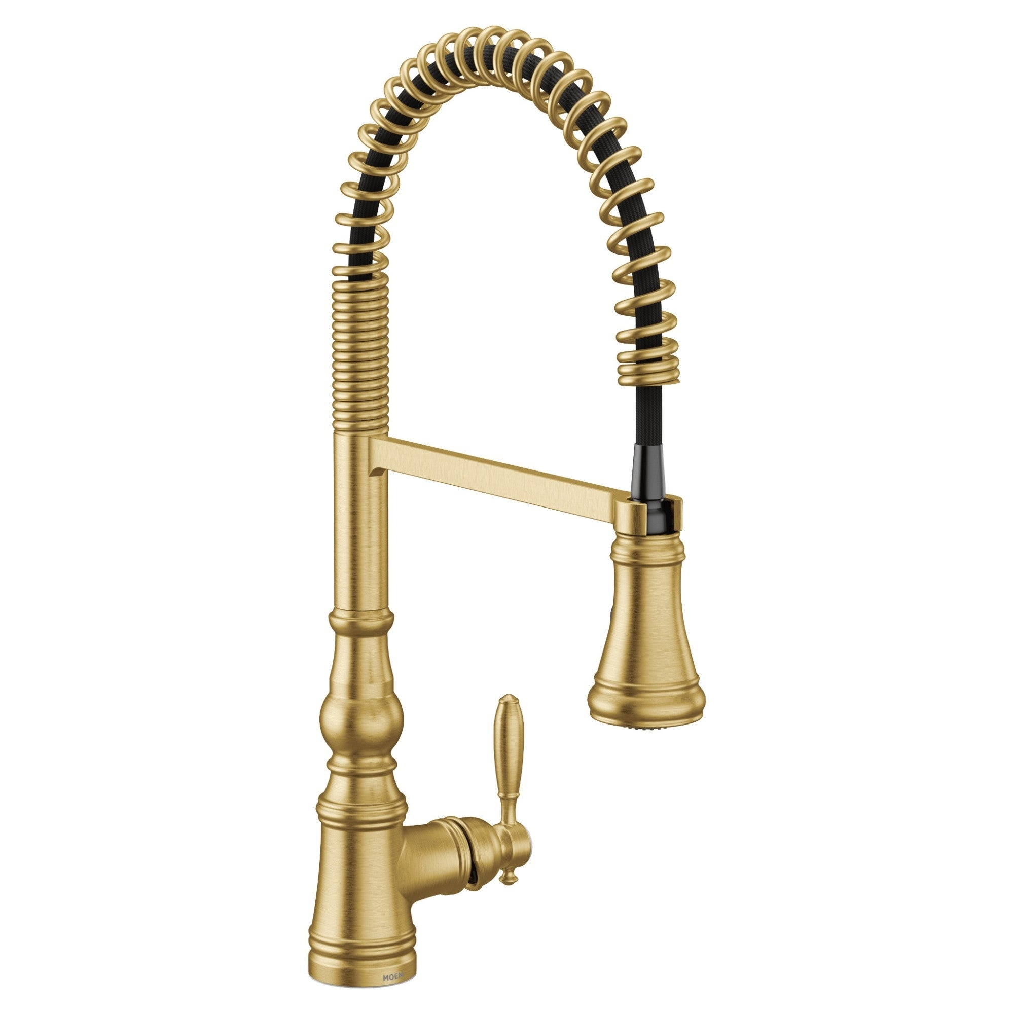 Moen One Handle Pre Rinse Spring Pulldown Kitchen Faucet Brushed Gold S73104bg Overstock 31312628