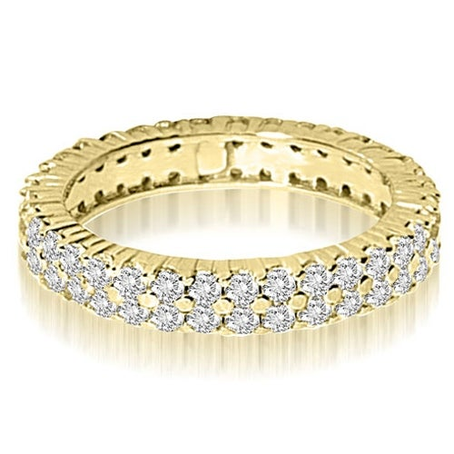 1.70 cttw. 14K Yellow Gold Round Two Row Prong Diamond Eternity Ring