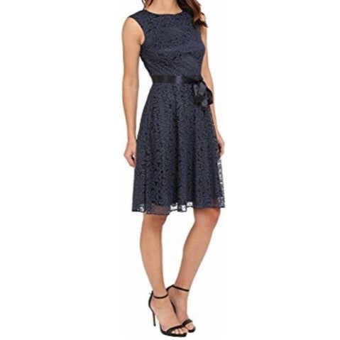 Tahari By ASL NEW Blue Women's 16 Lace Shimmer Belted Sheath Dress