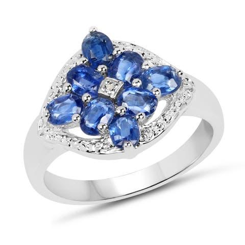 Malaika Sterling Silver 1 4/5ct TGW Kyanite and Diamond Accent Ring
