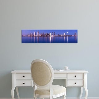Easy Art Prints Panoramic Images's 'Moonrise over a city, San Diego, California, USA' Premium Canvas Art