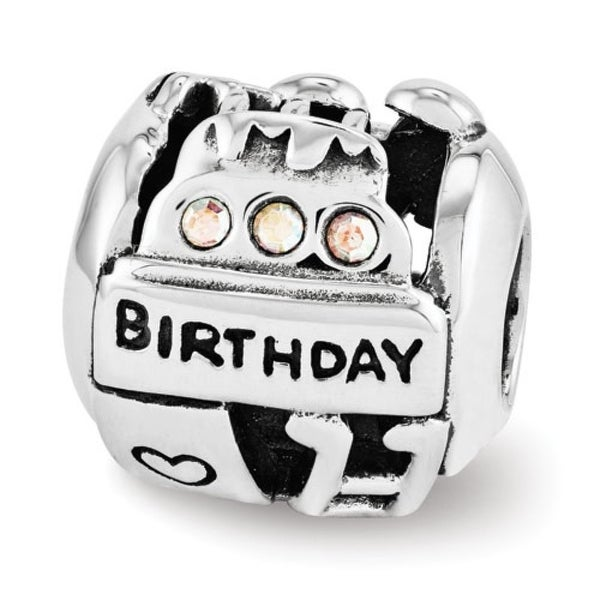 Sterling Silver Reflections Swarovski Elements Birthday Collage Bead (4mm Diameter Hole)