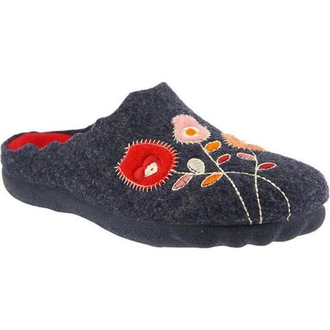 Flexus by Spring Step Women's Wildflower Slipper Navy Wool