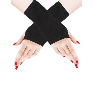 Unique Bargains Black Knit Fingerless Short Gloves Mittens for Lady