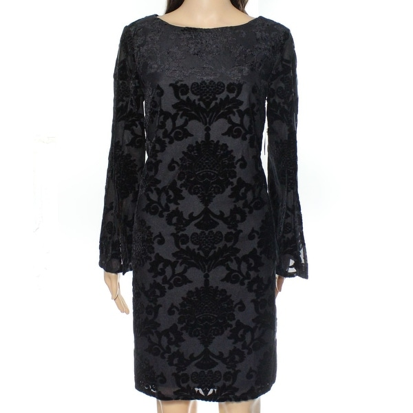 6a87a8c6492f Shop Jessica Howard NEW Black Womens Size 12 Damask Velvet Sheath Dress -  Free Shipping On Orders Over $45 - Overstock - 19222411