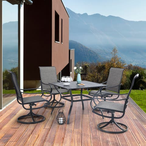 """MFSTUDIO 5 Piece Patio Dining Set,4 Sling Dining Swivel Chairs and 37"""" Square Metal Table with 1.57"""" Umbrella Hole"""
