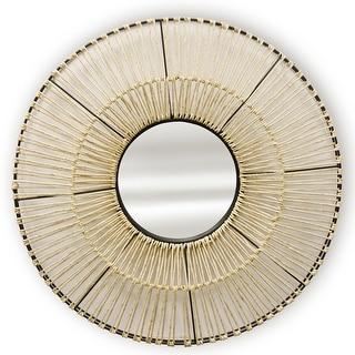 "StyleCraft SC-MI12667  36"" Diameter Circular Flat Metal Framed Hanging Decorative Woven Mirror - Natural"